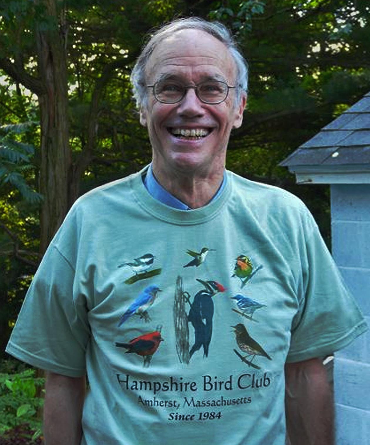 John Van de Graaff wearing Hampshire Bird Club's T-shirt featuring his bird images